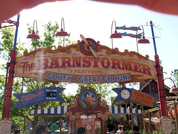 View of sign for the new Barnstormer rollercoaster.