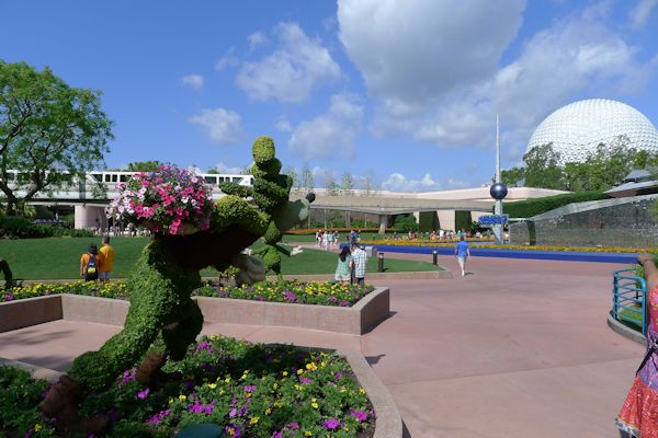View of topiary in EPCOT during Flower and Garden Show.