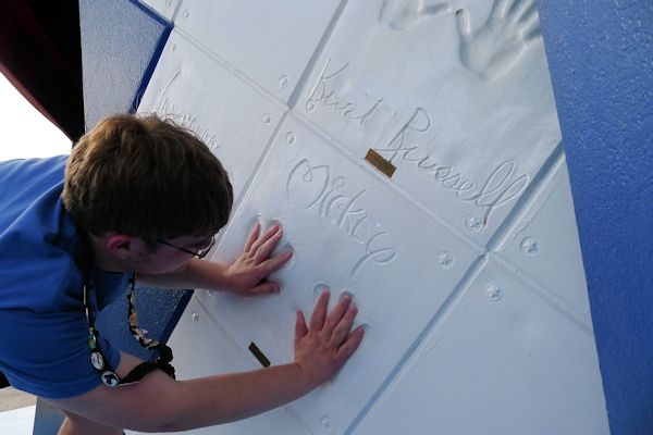 Mickey's handprints at Planet Hollywood in Downtown Disney.