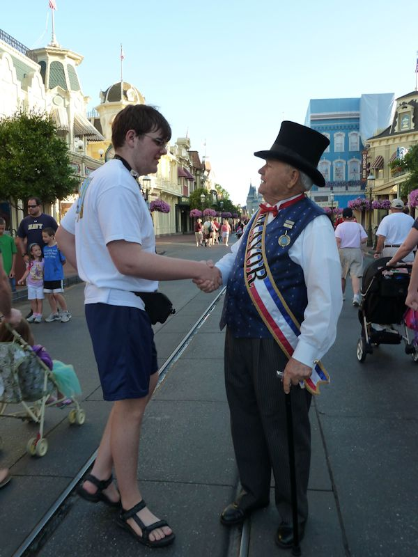 Greeted by the Mayor of Main Street.