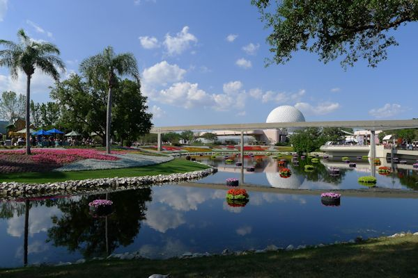 View of the big ball during the Flower and Garden Show at EPCOT.